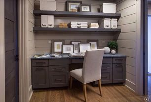 Traditional Home Office with Built-in bookshelf, Paint 1, Oak - Sable 3 1/4 in. Solid Hardwood Plank, Standard height