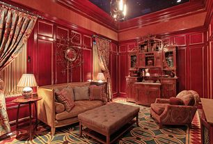 Traditional Living Room with Wainscotting, Made Goods Farah Polished Brass Mirror, Crown molding, Carpet, Chandelier