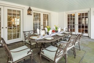 Cottage Porch with Screened porch, Ballard designs laurent outdoor wall lantern, Painted wood panel ceiling, French doors