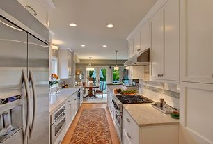 "Traditional Kitchen with French doors, Viking 36"" 7 Series VGR7366BSS Gas Range, Complex marble counters, Subway Tile, Galley"
