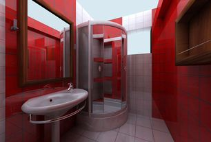 Contemporary 3/4 Bathroom with framed showerdoor, Wall Tiles, Pedestal sink, Loft cherry red polished 2 x 2 glass tiles