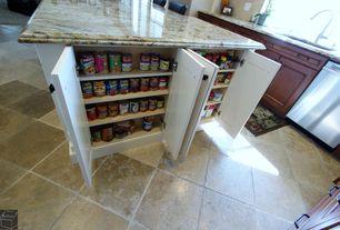 Traditional Pantry with Standard height, stone tile floors, double-hung window, Stonemark granite juparana arandis