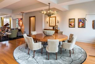 Contemporary Dining Room with Chandelier, bedroom reading light, Hardwood floors, High ceiling, Exposed beam, Wall sconce