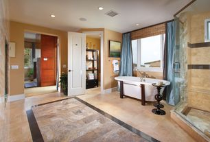 Modern Master Bathroom with Bathtub, Standard height, picture window, Shower, Clawfoot, Casement, can lights, Fireplace