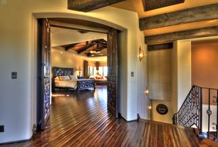 Eclectic Master Bedroom with Ceiling fan, Window seat, Hardwood floors, Hand scraped hardwood floor, flush light