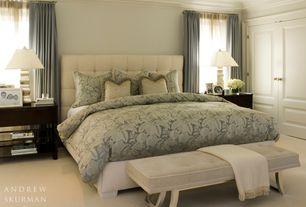 Traditional Master Bedroom with Pottery barn dupioni silk drape, Crown molding, Carpet, Built-in bookshelf