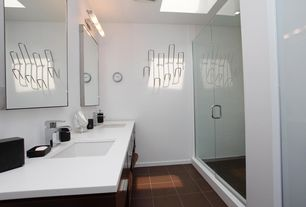 Contemporary 3/4 Bathroom with Quartz counters, Flush, Undermount sink, Double sink, Corian designer white, European Cabinets
