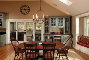 Craftsman Dining Room with Fairfield Chair Dining Table, Window seat, paint2, Skylight, High ceiling, French doors, Paint1
