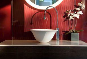 Contemporary Full Bathroom with West Elm Parson's Wall Mirror, Round, Bone Inlay Frame, Corian Glacier White, Vessel sink