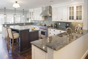 Cottage Kitchen with Undermount sink, Kitchen island, Inset cabinets, Breakfast bar, Flat panel cabinets, flush light