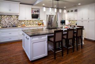 Traditional Kitchen with Hardwood floors, L-shaped, Flush, Glass panel, Eglo violetta 5 light kitchen island pendant