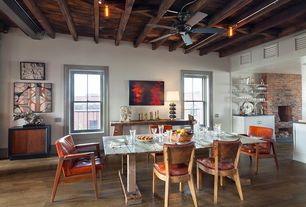 Contemporary Dining Room with Ceiling fan, Hardwood floors, Exposed beam, High ceiling, double-hung window, flush light