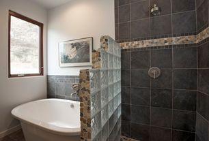 Contemporary Master Bathroom with Freestanding, Daltile Continental Slate Asian Black Porcelain Tile, Rain shower