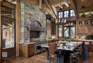 Rustic Kitchen with Pendant light, full backsplash, Custom hood, Kitchen island, Complex granite counters, Undermount sink
