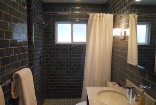 Contemporary 3/4 Bathroom with partial backsplash, Complex Marble, Shower, Undermount sink, curtain showerdoor, Wall Tiles