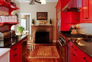 Country Kitchen with Soapstone counters, Crown molding, Flush, Liberty Flat Black 96 mm Sisal Pull, Ceiling fan, Galley