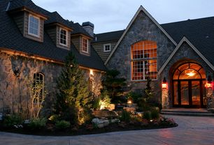 Rustic Front Door with Pond, Pathway, French doors, exterior tile floors, Arched window, Fountain, Transom window