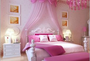 Traditional Kids Bedroom with Dozier Drapery Sheers Blush Pink, Chandelier, Richloom Hogarth Drapery Sheers Cameo