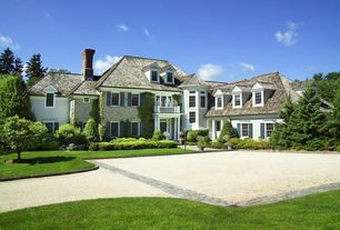 Traditional Exterior of Home with Transom window, Raised beds, Deck Railing, Paint 3, Pathway, Partial stone exterior
