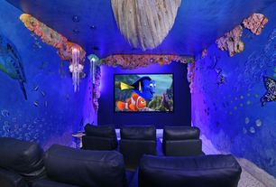 Eclectic Home Theater with Pendant light, Standard height, Mural, Carpet