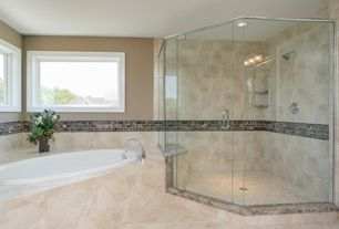 Modern Master Bathroom with Leith Acrylic Drop-In Air Tub - White, Concord Widespread Chrome-Finish Brass Bathroom Faucet
