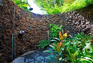 Tropical Master Bathroom with Alpine Flame Large Black Lava Rocks - 30 Lbs, Outdoor shower, Rain shower, Exterior flagstone