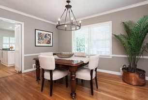 Transitional Dining Room with Pottery Barn Evelyn Extending Rectangular Dining Table, Crown molding, Hardwood floors