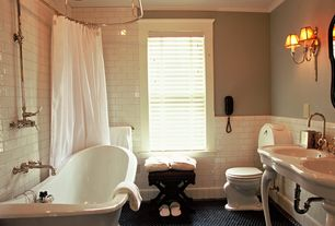 Traditional Full Bathroom with curtain showerdoor, shower bath combo, Full Bath, Shower, tiled wall showerbath, Console sink