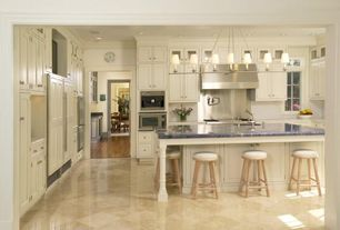 Traditional Kitchen with Raised panel, U-shaped, Breakfast bar, Inset cabinets, Glass panel, Stainless Steel, Crown molding