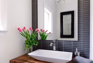 Contemporary Powder Room with Standard height, full backsplash, Powder room, flush light, Casement, Vessel sink