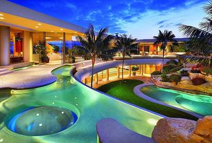 Contemporary Swimming Pool with Pathway, exterior stone floors, French doors