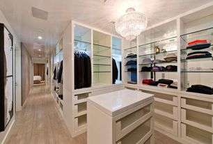 Contemporary Closet with Laminate floors, Chandelier, Paint 1, Quickstep reclaime collection uf1667 white wash oak