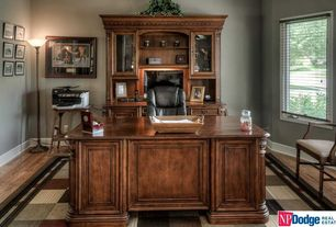 Traditional Home Office with Hardwood floors, Built-in bookshelf