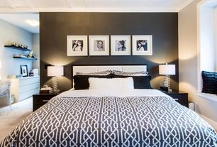 Contemporary Master Bedroom with Crown molding, Ming Bedding Queen Duvet Cover, Louis ghost chair, Window seat, Carpet