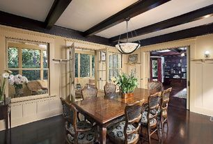 Craftsman Dining Room with Standard height, Exposed beam, Wall sconce, flush light, French doors, Hardwood floors