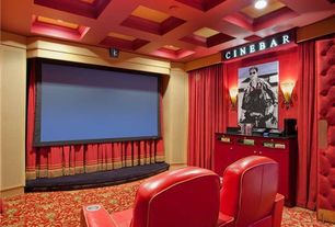 Traditional Home Theater with Chandelier, Box ceiling, Built-in bookshelf, Carpet, Wall sconce