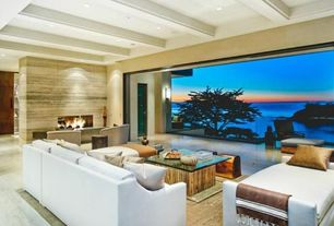 Contemporary Living Room with Carpet, Exposed beam