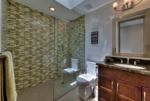 Contemporary 3/4 Bathroom with frameless showerdoor, Flush, Undermount sink, Complex granite counters, Flat panel cabinets