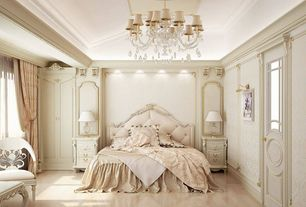 Traditional Master Bedroom with The gallery murano venetian style all-crystal chandelier with white shades, Crown molding