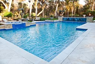 Traditional Swimming Pool with Pathway, Pool with hot tub, Fountain, Raised beds, Fence, exterior stone floors