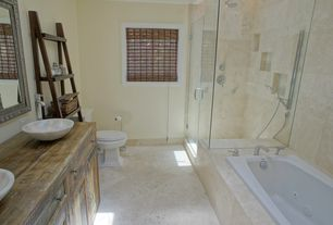 Rustic Master Bathroom with Bathtub, Shower, Master bathroom, limestone tile floors, drop in bathtub, picture window, Flush