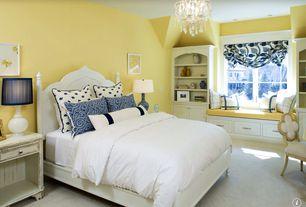 Traditional Guest Bedroom with Carpet, Built-in bookshelf, Casement, Window seat, Standard height, Chandelier, can lights
