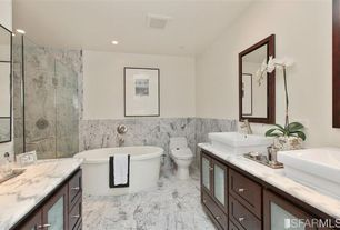 Contemporary Master Bathroom with Glass panel, frameless showerdoor, Complex marble counters, complex marble tile floors