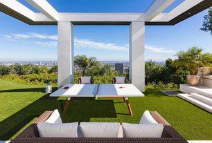 Modern Patio with Trellis, Raised beds