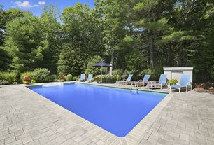 Contemporary Swimming Pool with exterior stone floors
