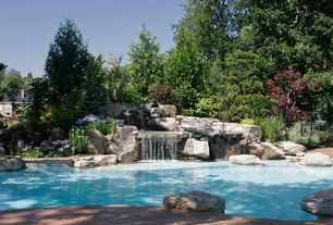 Traditional Swimming Pool with exterior concrete tile floors, exterior tile floors, Other Pool Type, Fence, Fountain