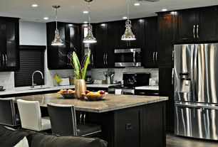"""Contemporary Kitchen with Corian counters, built-in microwave, Breakfast bar, Bali 2"""" faux wood blinds, Standard height"""