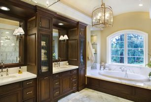 Traditional Master Bathroom with Simple marble counters, Carrara volakas marble tile, Pendant light, Inset cabinets