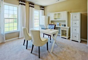 Traditional Home Office with Standard height, Carpet, double-hung window