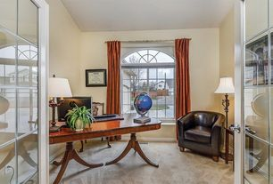 Traditional Home Office with Carpet, French doors, Arched window